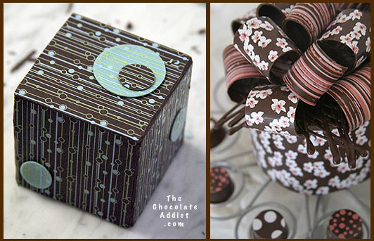 Chocolate box and bow with transfer sheets