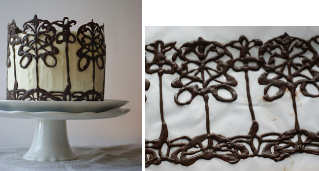 Piped decoration on a cake, photo courtesy of Poires au Chocolate