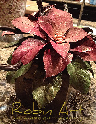 Chocolate poinsettia made using real leaves as molds, by Robin Art Chocolate