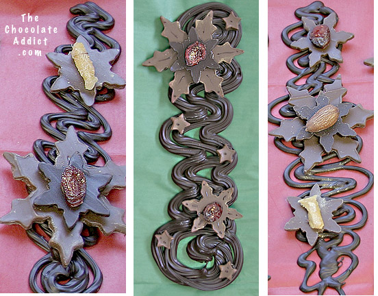 Chocolate Pipped Squiggle decorations with snowflake cut-out and dried fruit
