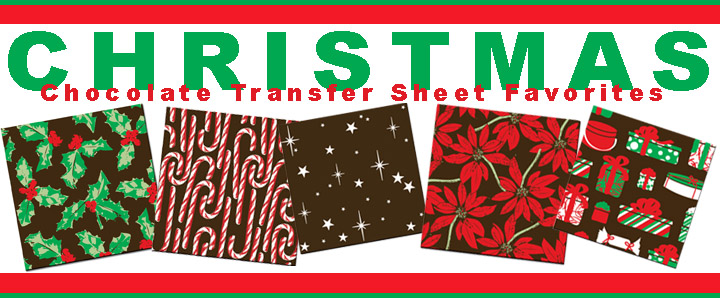 Holiday chocolate transfer sheets
